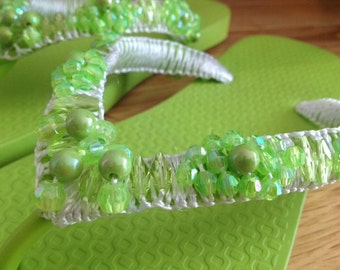 Hand-beaded Flip-flop Sandal in Lime Green (Size 6)