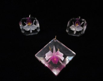 Lucite Orchid Pendant and earrings