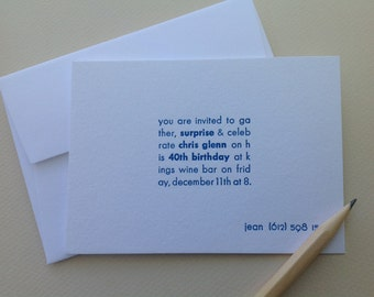 Custom letterpress invitations - 40th - Set of 20 cards & envelopes