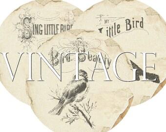 Circles 2.5 inch Vintage Birds Instant Download digital collage sheet C177 Circle Bird