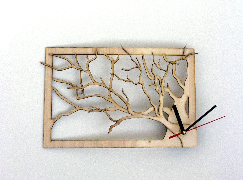 Tree Frame Wooden Laser Cut Wall Clock By TikTakWorkshop