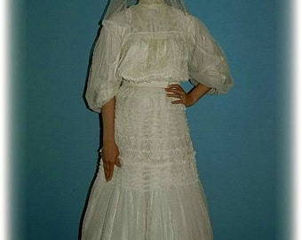 Antique 1900 Edwardian/Victorian/ Downton Abbey Ivory Lace 2 Piece Wedding or Garden Party Dress