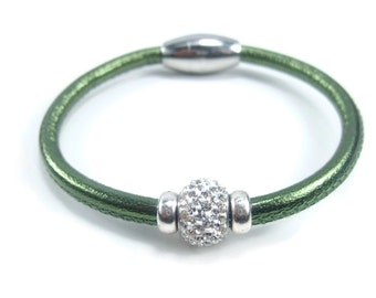 Green Leather Bracelet, Womens Leather Jewelry, Womens Leather Bracelet, Leather Rhinestone Bracelet, Magnetic Clasp, Womens Bracelet