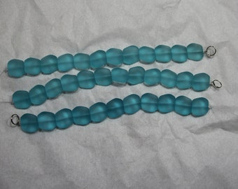 "8"" Strand of light blue Beach Glass"