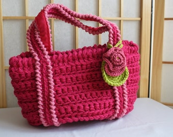 Hand Crocheted Bag Rasberry with Rose