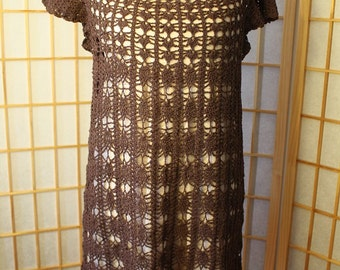 Hand Crocheted Brown Dress