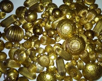 100 grams Brass Beads Handmade Assorted shape