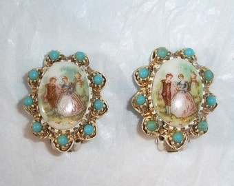 Beautiful Porcelain Scene Earrings, White Wash/Turquoise