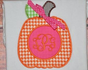 Monogrammed Pumpkin Shirt or Onesie - Houndstooth
