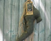 "Primitive Witch Shoe - 18"" With Grungy Witch Tag and Raffia -  Ready to Ship"