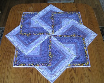 Light Medium and Dark purple table topper or wall hanging