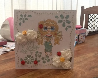Handmade Geeky girl Birthday Card