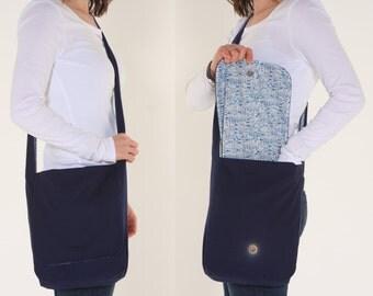 Navy Blue Seaside Messenger Bag