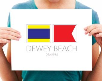 Dewey Beach - Delaware - Nautical Flag Art Print