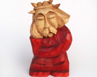 PENSIVE JESUS CHRIST handcrafted wooden sculpture