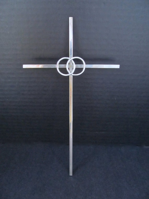 Vintage 1960s Silver Plated Intertwined Rings WEDDING Marriage Cross CAKE TOPPER