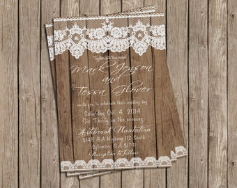Rustic Barn Wood and Lace Invitation for Wedding, Save the Date or Shower - printable 5x7