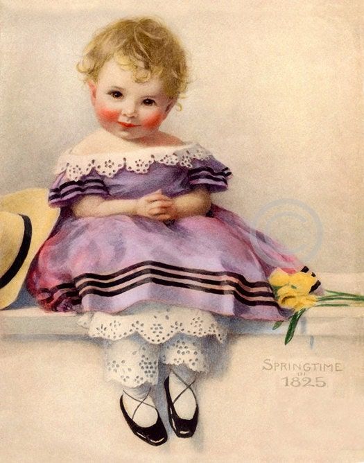 Sweet Victorian Child Print Little Girl with flowers and