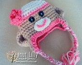 Girl Sock Monkey Hat - Customizable Colors - Baby Girl, Toddler, Newborn Photography Crochet Beanie Ear Flaps and Tassels