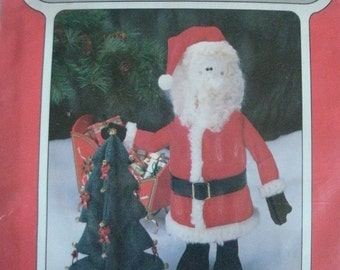 "16"" Santa with Tree - Poly-Fil Poly-Patterns #D211 from Fairfleld -  Materials List and Assembly Instructions. No Date Given"