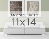 """11x14"""" Cityscape Art Print: Choose any City in the shop"""