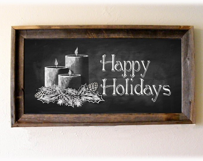 Happy Holidays DIY Chalkboard Christmas sign - Instant download - PRINTABLE file - Candle Decoration