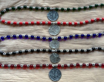Silver and Colored Glass Bead Pirate Doubloon Necklace (Pirate, Pirates of the Caribbean