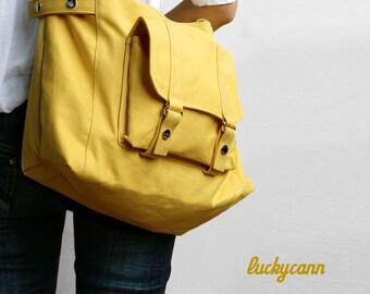 CARSON // LemonChiffon / Lined with Beige // 032 / Ship in 3 days // Messenger / Diaper Bag / Shoulder Bag / Tote Bag / Purse / Gym Bag