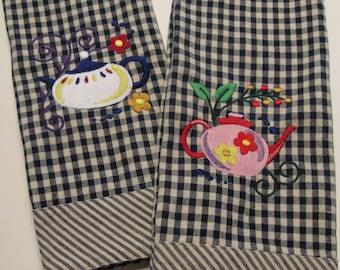 Embroidered Kitchen Towel Jacobean Tea Pot  -Blue & White Check