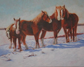 Belgians In Snow Limited Edition giclee print on canvas