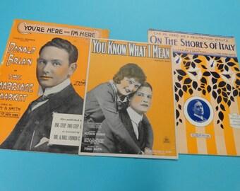 1914 SHEET MUSIC  set of 3  original