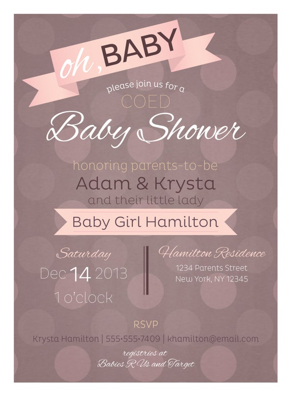 co ed optional baby girl shower invitation by paisleydaynedesigns