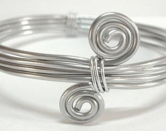 Aluminium jewelry Aluminium bracelet Aluminium woman bangle with spirals.