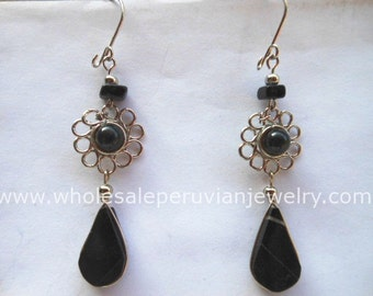 Black Onyx Teardrop Alpaca Silver Flower Earrings Peruvian Jewelry- Handmade in Peru