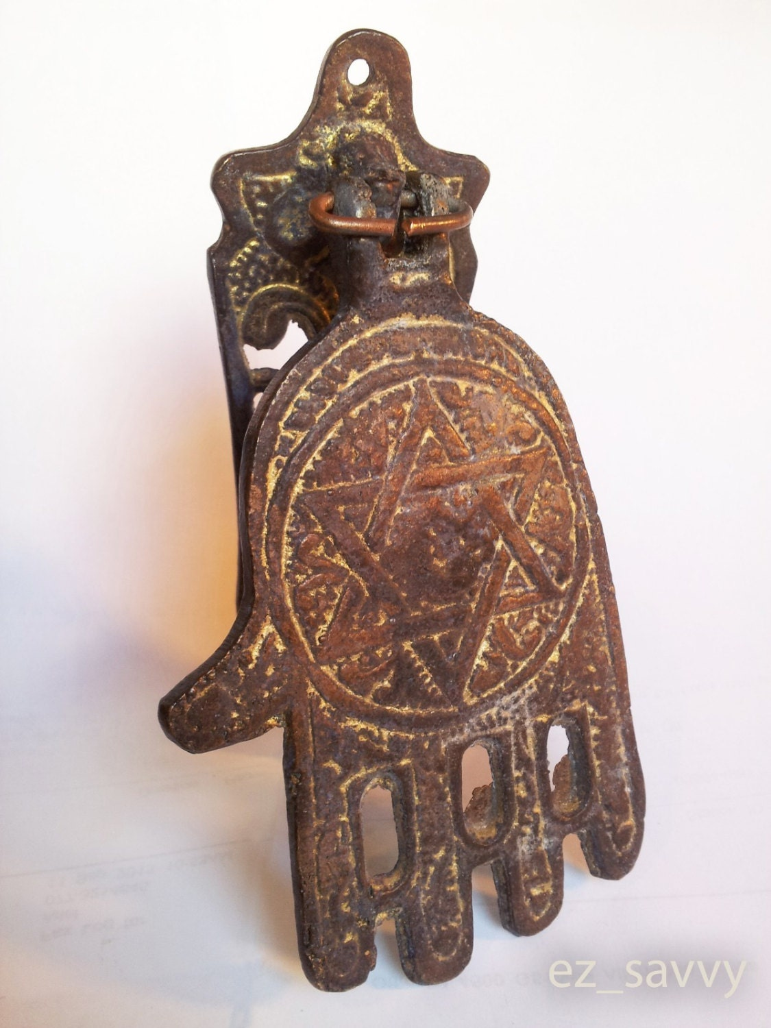 Antique style bronze jewish hamsa door knocker vintage design - Antique bronze door knocker ...