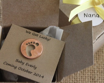 Pregnancy Announcement, Baby Lucky Charm... Secret Message, Gender Reveal, Lucky Penny