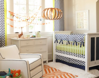 Boy Baby Crib Bedding: Navy and Citron Zig Zag Crib Bedding - Fabric Swatches Only