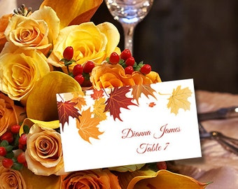 "Printable Place Cards Template ""Falling Leaves"" Avery 5302 Compatible Editable Microsoft Word Tent Card Wedding or Thanksgiving  DIY U Print"