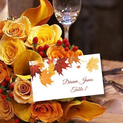 Printable Place Cards Template Falling Leaves