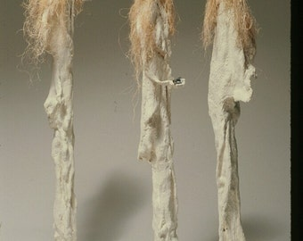 """The Graeie Sisters - Unique, One of a Kind Figurative Sculpture using Plaster and Straw.  53"""" x 8"""" x 7"""""""
