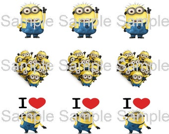 "15 1"" -  Precut Bottle Cap Images -  Minion Inspired"
