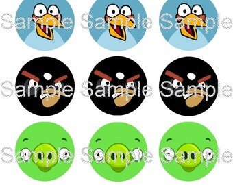 "15 1"" - Precut Bottle Cap Images - Angry Birds Inspired"