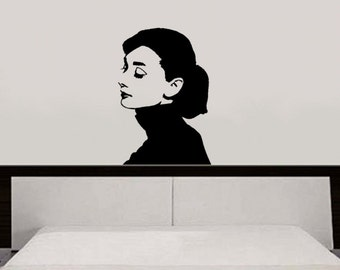 Wall Decal - Young Audrey Hepburn with Ponytail - Removable vinyl decal - Art Decals for Walls 22-inch