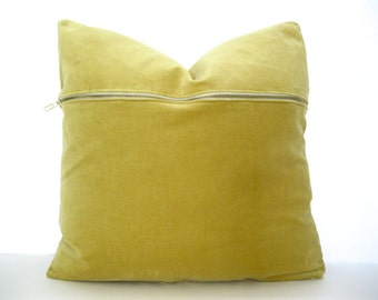 Gold Velvet Pillow Cover with Brass Zipper Detail