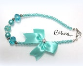 Aqua Pearl Dog Accessory Necklace with Satin Bow and Swarovski Crystal.