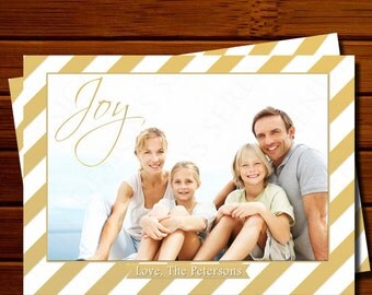 Holiday Photo Card with Gold Stripes - Modern, Gold, Christmas, Printable, Digital