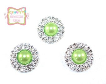 22mm Lime Double Row Pearl Rhinestone 3 Pieces #B011