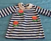 70s Girls' Mod Dress Chocolate Soup 3T Navy Blue White Stripes Neon Floral Design