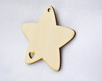 SALE - 10 Star Shaped Gift Tags - Unfinished Wood Pendants - Wooden, Jewelry Supply, DIY, Labels, Present