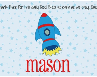 Personalized Placemat - Kids Placemat - Childrens Placemat - Childs Placemat - Laminated Placemat - Baptism Gift - Christening Gift -Rocket